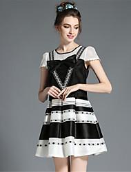 AOFULI Women's Vintage Retro Plus Size Bow Patchwork Hollow Stripe Print Fake Two Piece Short Sleeve Dress