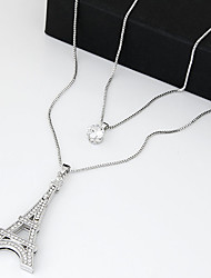 cheap -Women's Tower Shape Vintage Cute Party Work Casual Fashion Double-layer Pendant Necklace Layered Necklace Zircon Cubic Zirconia