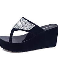 cheap -Women's Shoes Leatherette Summer Platform Creepers Crystal for Casual Outdoor White Black