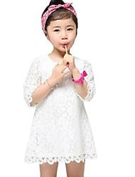 Menina de Vestido Sólido Verão Meia Manga Branco Vermelho