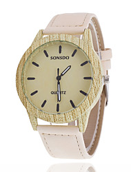 cheap -Women/Men's Wooden Leather Band Analog Round Case  Wrist Watch Jewelry