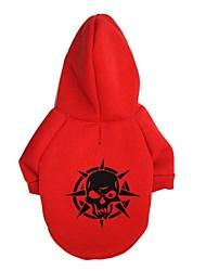 Katzen / Hunde T-shirt / Kapuzenshirts Rot / Grün / Schwarz Hundekleidung Frühling/Herbst Totenkopf Motiv Modisch