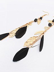 Drop Earrings Feather Alloy Bohemian Fashion White Black Green Khaki Jewelry Party Daily Casual 1 pair