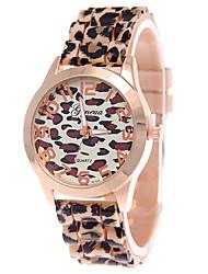 cheap -Women's Quartz Wrist Watch Casual Watch Silicone Band Leopard Fashion Brown