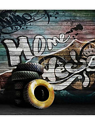 3D Shinny Leather Effect Large Mural Wallpaper Vintage Graffiti Art Wall Decor Wall Paper