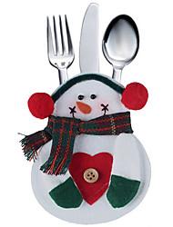2pcs poche sac cuisine vaisselle de bonhomme de neige fixe porte argent décoration de fête de noël