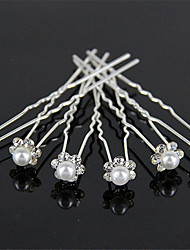 cheap -Tire Diamond Hairpins Pearl Wedding Dress Accessories Small Hair Clasp U-Shaped Clip 10pcs