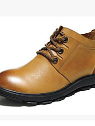 cheap -Men's Shoes Nappa Leather Fall / Winter Combat Boots Boots Hiking Shoes Light Brown
