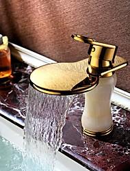 billiga -Badrum Tvättställ Kran - Vattenfall / Utbredd Ti-PVD Centerset Singel Handtag Ett hålBath Taps / Mässing
