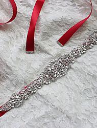 Недорогие -атласная свадебная вечеринка / вечерние пояса с изящным стилем из горного хрусталя