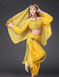 baratos -Dança do Ventre Roupa Mulheres Espetáculo Chiffon Lantejoulas Moedas de Ouro Manga Longa Caído Blusa Calças Cinto Véu