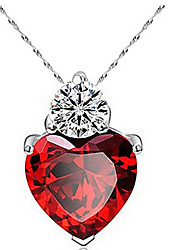 cheap -Women's Heart Shape Cute Work Casual Love Heart Fashion Pendant Necklace Zircon Cubic Zirconia Alloy Pendant Necklace Thank You Daily