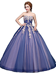 Ball Gown Princess Strapless Floor Length Tulle Formal Evening Dress with Appliques by SG