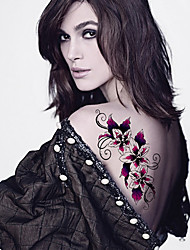 Fashion Large Temporary Tattoos Flowers Sexy Body Art Waterproof Tattoo Stickers 2PCS  (Size: 5.71'' by 8.27'')
