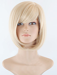cheap -Short Bob High Quality Synthetic Blonde Straight Hair Wig With Full Bang