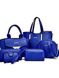 Women Bags All Seasons PU Tote Bag Set with for Shopping Casual Formal Office & Career Black Purple Yellow Fuchsia Blue