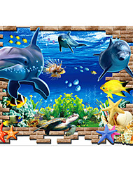 cheap -3D Underwater World Dolphin Wall Stickers Removable PVC Living Room Bedroom Marine Organism Wall Decals