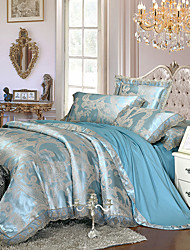 Light Blue Queen King Size Bedding Set Luxury Silk Cotton Blend Lace Duvet Cover Sets Jacquard Pattern