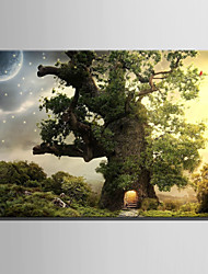 cheap -E-HOME® Stretched LED Canvas Print Art Tree House Under The Stars LED Flashing Optical Fiber Print One Pcs