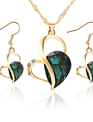 cheap -Women's Crystal Jewelry Set - Crystal, Rhinestone Heart Elegant, Bridal Include Drop Earrings / Pendant Necklace Purple / Green / Blue For Wedding / Party / Daily