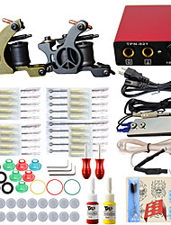 billige -professionel komplet 2 tattoo maskine kit 2stk blæk strømforsyning nål greb tips