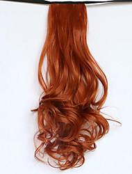 preiswerte -20 Zoll Rot Mit Clip Wellen Locken Pferdeschwanz Raffhalter Kunststoff Haarstück Haar-Verlängerung