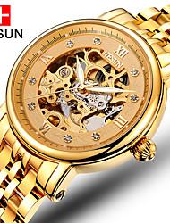 baratos -nesun Homens Relógio Esqueleto Automático - da corda automáticamente 30 m Gravação Oca Aço Inoxidável Banda Analógico Amuleto Dourada