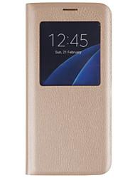 Недорогие -DE JI Кейс для Назначение SSamsung Galaxy Samsung Galaxy S7 Edge с окошком / Флип Чехол Однотонный Твердый Кожа PU для S7 edge / S7 / S6 edge plus