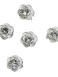 Недорогие -10шт giltter стразами белая роза цветок 3d сплава украшения искусства ногтя