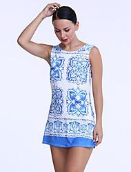 Damen Kleid-Hülle Retro / Street Schick Druck Mini Polyester Rundhalsausschnitt