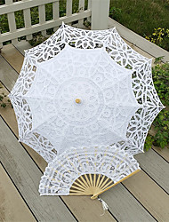 "30"" Handmade Embroidered Parasol Sun Umbrella With Hand Fan Bridal Wedding Birthday Party Decoration"