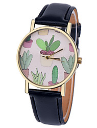 cheap -Cactus Plant Collection Watch,Vintage Style Leather Watch,Women Watches,Men's Watch,Summer Green Yellow,Succulent Cool Watches Unique Watches
