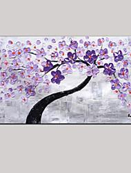 mão da faca de paleta de pintura a óleo arte pintada parede roxa decoração imagem fresca flor de cerejeira rosa verde esticada quadro