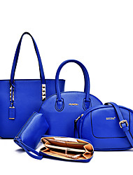 Women Bags All Seasons PU Tote Bag Set for Shopping Casual Formal Office & Career White Black Fuchsia Blue Wine
