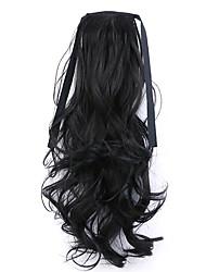 longitud 50 cm negro fábrica de la venta directa de tipo cola de caballo se unen rizo de pelo cola de caballo (color 2)