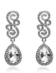 White Drops Shape Cubic Zrconia Crystal Drop Earrings Jewelry for Lady