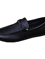 cheap -Men's Loafers & Slip-Ons Spring / Fall Moccasin / Comfort Leatherette Casual Flat Heel Lace-up Black / Brown / White