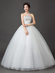 cheap -Ball Gown Strapless Floor Length Lace Satin Tulle Wedding Dress with Crystal by Embroidered bridal