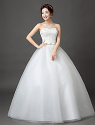 cheap -Ball Gown Sweetheart Floor Length Lace Satin Tulle Wedding Dress with Beading Sash / Ribbon by QQC Bridal