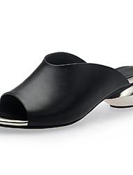 Недорогие -Жен. Обувь Телячья шерсть Весна / Лето На толстом каблуке Белый / Черный
