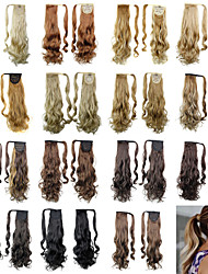 cheap -20inch Long Curly Tie Up Ponytails Clip In Black/Brown/Blonde Synthetic Hair Piece Hair Extension For Women