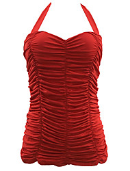 cheap -Women's Solid Solid Lace Up Straped One-piece Swimwear White Black Red