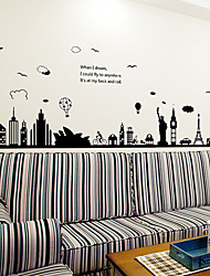 cheap -Big Size European Style Building Architecture Cucoloris Wall Stickers DIY Environmental Living Room Wall Decals