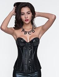 YUIYE® Women Sexy Lingerie Waist Training Corset Set Bustier Shapewear Plus Size Black S-2XL PU Overbust Corset