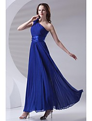cheap -A-Line One Shoulder Ankle Length Chiffon Bridesmaid Dress with Draping Flower(s) Pleats by LAN TING BRIDE®