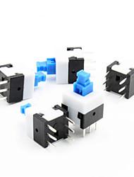 8 x interruptor de travamento automático 8 milímetros - azul + branco + preto (5 peça pack)