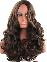 cheap -Synthetic Wig Wavy Middle Part Brown Women's Capless Carnival Wig Halloween Wig Long Synthetic Hair
