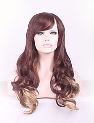 cheap -Synthetic Wig Curly / Deep Wave Asymmetrical Haircut Synthetic Hair Natural Hairline Brown Wig Women's Long Capless