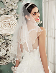 cheap -Two-tier Lace Applique Edge Wedding Veil Shoulder Veils With Embroidery Tulle