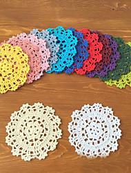36Pcs Handmade DIY Flower Crochet Cup Pads Round Retro Cotton Table Mat Placemat